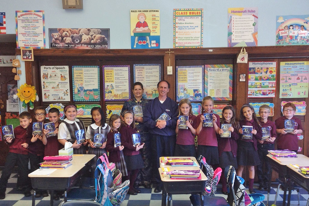 "A PHENOMENAL ""thank you"" goes to the Wakefield Rotary Club from Jane Ellis and Grade 3 of Saint Joseph School for generously giving each student a dictionary to keep. The dictionaries contain a myriad of information about the presidents, the states, the world and planets in addition to alphabetical ordered words and definitions. Thank you Wakefield Rotarians Jim Fitzgerald and Suzanne Bowering for bringing the dictionaries and for visiting their classroom."