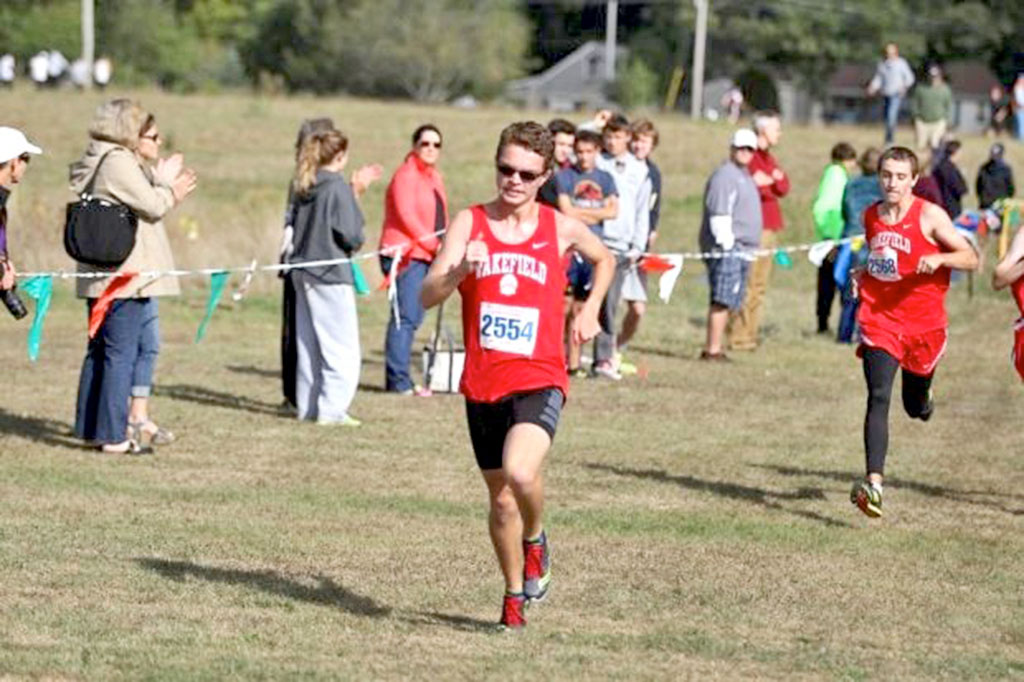 JEREMY KEEGAN, a senior, posted a first place for the first time in his career in Wakefield's 15-50 victory over Wilmington yesterday afternoon at Wilmington High School. Keegan clocked in at 17:52 to win the race.