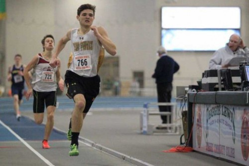 WAKEFIELD resident Shawn Carlson is having quite a season on the Bishop Fenwick boys' indoor track team. The junior placed seventh this past Sunday at the MSTCA Coaches Elite meet with a PR of 1:23.58 in the 600 meter run which ranks him number one in the Massachusetts Div. 5 rankings. A few weeks ago he helped his team shatter the meet record in the Div. 5 State Relays in the Sprint Medley where he ran a 1:58 in the 800 meter portion of the relay.Carlson will look to win his first Div. 5 state title on Feb. 13.