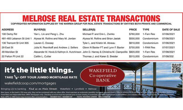 Melrose Real Estate Transactions published July 30, 2021